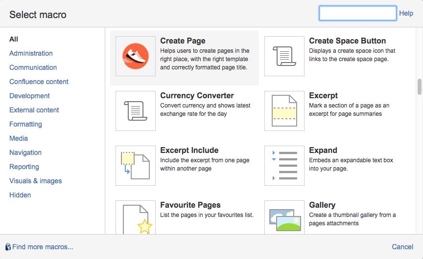 Create Page Macro